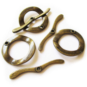 Heather's cf 10 Pieces Brass Tone Annulus Big Clasp Toggle Findings Jewellery Making 30X30/47X5mm