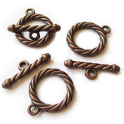 Heather's cf 17 Pieces Copper Tone Tiwsted Big Clasp Toggle Findings Jewellery Making 24X20/25X8mm