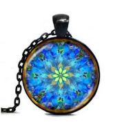 "Beautiful Flower Glass Pendant Necklace 78cm/30"" Chain For Best Friends Gift Antique"