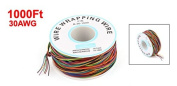 PCB Solder Assorted Colour Flexible 0.25mm Dia Copper Wire 30AWG Wrapping Wrap 300m