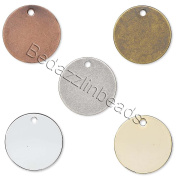 20 Assorted 15mm Round Flat Circle Blank Coin Stamping Charms Plated Brass Metal