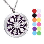 Snowflake Crystal Rhinestones Aromatherapy Essential Oil Diffuser Necklace Stainless Steel Round Locket Pendant 12 Refill Pads