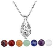 JSDDE 7 Chakra 8mm Gemstone Reiki Crystal Healing Energy Ball Reiki Howllow Locket Pendant Necklace