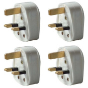 Pack of 4 UK 3 Pin 13A Fused Mains Plugs - White
