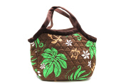 Hawaiian Print Quilted Padded Cotton Handel Zipper Bag Small Tote in Palm Pineapple Green