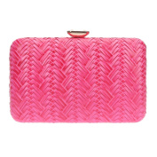 Bonjanvye Big Man-Made Diamond PU Leather Weave Evening Bags And Clutches For Women Rose