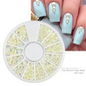 Qimeiya 1 Wheel Mix Sizes Nail Art Rhinestones ab Crystal 3d Pearl Flatback Hemispherical Shaped Nature Colour Nail Decoration