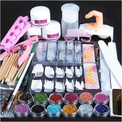 MZP 1set Acrylic Powder Glitter Nail Brush False Finger Pump Nail Art Tools Kit Set