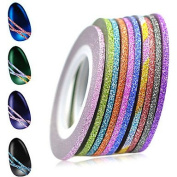 MZP 1set 2mm 12 Mixed Sparkling Colours Laser Glitter Nail Art Striping Tape Line DIY Nail Decorations Manicure Tools