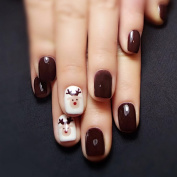 Jovono Full False Nail Tips Fake Nails with Milu Deer Pattern for Women and Girls