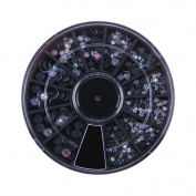 Demiawaking 3D Nail Art Tips Decorations Colourful Rhinestone Manicure Nail Polish Wheel Set