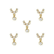 MZP 10pcs Gold Necklace with Clear Rhinestone 3D Charm Alloy Nail Art Decoration