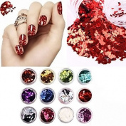 MZP 12 Colours/Set 3D Rhombus Glitter Shape Sequins Powder Nail Art Acrylic Kit