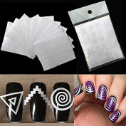 MZP 12Pcs Nails Sticker Stencil Tips Guide French Swirls Manicure Nail Art Decals Form Fringe DIY Sencil 3D Styling Beauty Tools