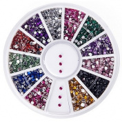 MZP High Quality 2000 1.5mm Assorted Colours Round Glitter Nail Art Decorations Wheel Gems Rhinestones
