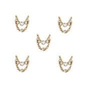 MZP 10pcs Gold Necklace Dangles with Clear Rhinestone 3D Charm Alloy Nail Art Decoration