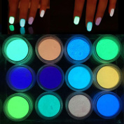 hunpta 12PCS Glow in The Dark Nail Powder Sand Luminous Nail Art