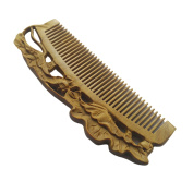FANTAC CRAFTS Green Sandalwood Verawood Wooden Lotus Flower Carving Handmade Hair Comb Brush Aroma Pocket Comb Gift