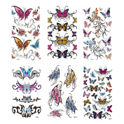 MIMAN 6 Sheets Large Temporary Tattoos Butterfly Paper Sexy Body Tattoo Sticker for Women & Girl Fake Tattoo