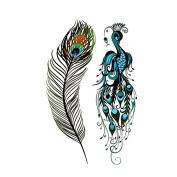 Oottati Small Cute Temporary Tattoo Feather Peacock