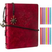 Woodmin Leather Cover Navigation Theme 3-Ring Black Paper DIY Scrapbook Photo Album, Anniversary Sketchbook, Wedding Album