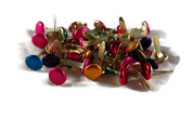 Coloured Metallic Assorted Large Round Brads - Scrapbook Paper Fasteners 50pc 0.8cm
