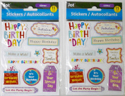 2 Packs Dimensional 'Have a Fabulous Birthday!' Themed Embellishments/Stickers with Glitter Accents