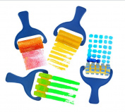 LALANG 4Pcs Creative set for kids yellow sponge brushes children kids painting graffiti toys plastic handle drawing brush drawing tool