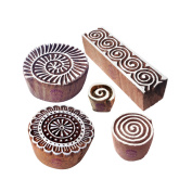 Classy Pattern Spiral and Round Wood Block Stamps