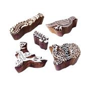 Exclusive Motif Finger and Bird Block Print Wood Stamps