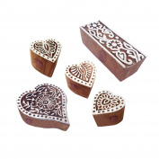 Ornate Pattern Heart and Flower Wood Block Stamps
