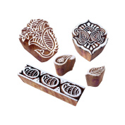 Artistic Pattern Paisley and Floral Wood Print Blocks