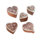 Indian Motif Heart and Floral Wood Stamps for Printing