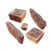 Traditional Motif Geometric and Finger Wood Stamps for Printing