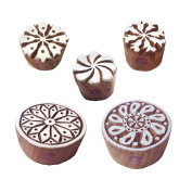 Retro Shapes Round and Twisted Wooden Stamps for Printing