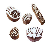 Oriental Shapes Religious and Lotus Wooden Stamps for Printing