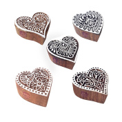 Crafty Pattern Heart and Floral Wood Block Stamps