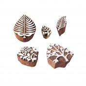 Traditional Motif Leaf and Plant Wood Stamps for Printing