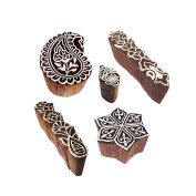 Handcarved Pattern Paisley and Finger Wood Block Stamps