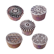 Indian Motif Swirl and Round Wood Stamps for Printing