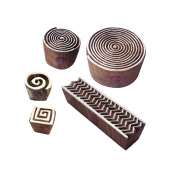 Artistic Motif Spiral and Chevron Wood Stamps for Printing