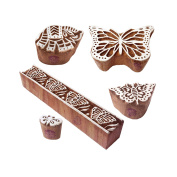 Handcarved Motif Butterfly and Elephant Wood Stamps for Printing