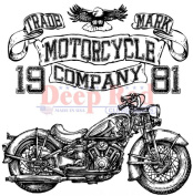 Deep Red Rubber Cling Stamp Motorcycle Logo Company Biker Bike