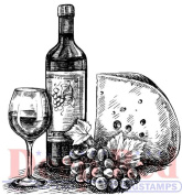 Deep Red Rubber Cling Stamp Wine and Cheese with Grapes