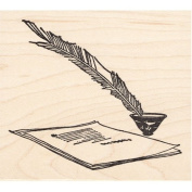 Feather Pen & Paper Rubber Stamp