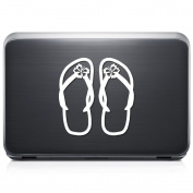 Flip Flops Sandal Hawaii REMOVABLE Vinyl Decal Sticker For Laptop Tablet Helmet Windows Wall Decor Car Truck Motorcycle - Size (07 Inch / 18 Cm Tall) - Colour