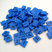 Wooden Toy, 100 Wooden Scrabble Tiles Black Letters Numbers For Crafts Wood Alphabets By Dacawin