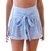 Women Drawstring Shorts,Enjocho Summer High Waist Beach Sports Short Pants Striped Trousers