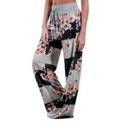 Women Wide Leg Pants,Enjocho Summer Laies Floral Prints Drawstring Fashion Loose Mid Waist Leggings 2#