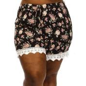 Women Short Pants,Enjocho Summer Laies Floral Print Lace Splicing High Waist Drawstring Sport Trousers Shorts